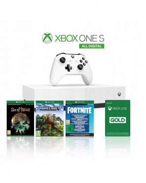 XBOX One S 1TB White All Digital + Minecraft, Fortnite, Sea of Thieves